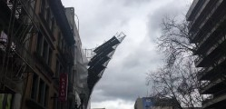 Scaffolding of a building falling off Portland Oregon1