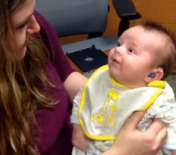 NINE WEEK OLD DEAF BABY HEARD HIS MOM VOICE FOR FIRST TIME