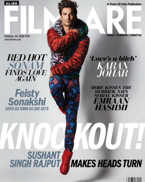 Sushant Singh Rajput poses in pyjamas on the cover of Filmfare magazine