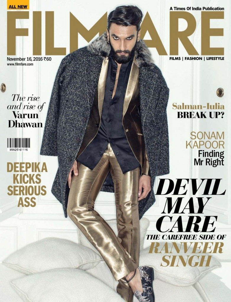Ranveer Singh is on Filmfare Magazine November 2016